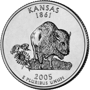 2005 Kansas 50 States Quarters Coin. (United States Mint image.)